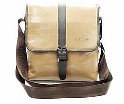 Эксклюзивная мужская сумка из гладкой кожи бежевая, фото 2