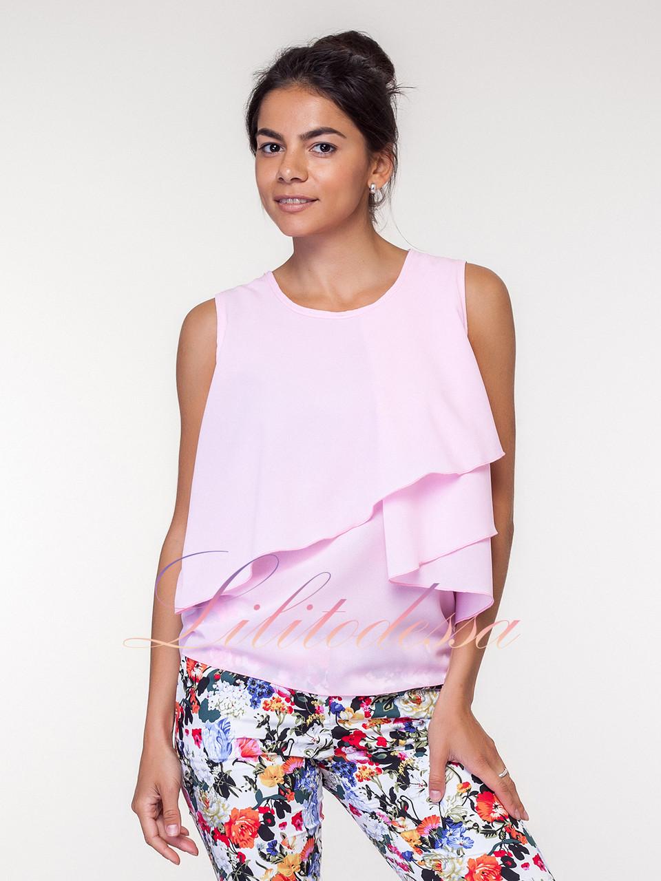Летняя розовая Блузка с воланами