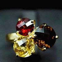 Кольцо с натуральными ГРАНАТОМ, ЦИТРИНОМ, РАУХТОПАЗОМ