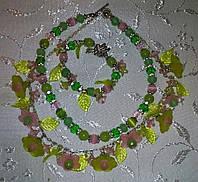 Б/У Колье салатово-розовое с браслетом, фото 1