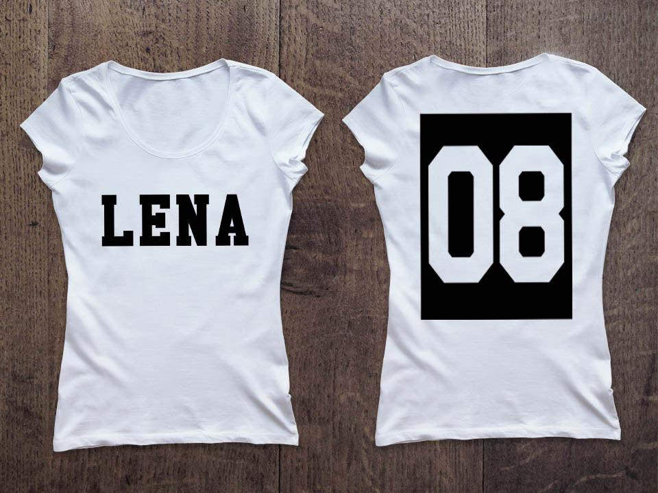 Женская именная футболка. Номер в квадрате