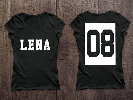 Женская именная футболка. Номер в квадрате, фото 2