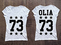 Женская именная футболка (звездочки)