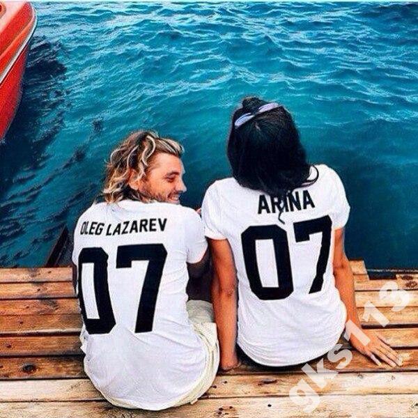 Парные именные футболки (белые)
