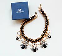 Колье модное женское Эсферро черное, магазин бижутерии