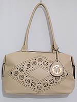 Недорогая светлая женская сумка лето крем, фото 1