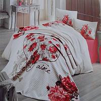 Двуспальный евро комплект с пледом (200×220)  в подарочном сундуке-чемодане Irina Home Je Taime K, Турция,
