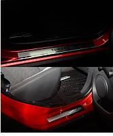 Накладки на пороги  Renault Sandero II 2012- 4шт. premium