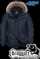 Куртка зимняя мужская на меху Braggart Dress Code - 1360A темно-синяя