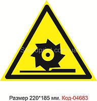 """Знак """"Осторожно. Режущие валы"""" Код-04683"""