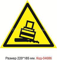 """Знак """"Осторожно. Возможно опрокидывание"""" Код-04686"""