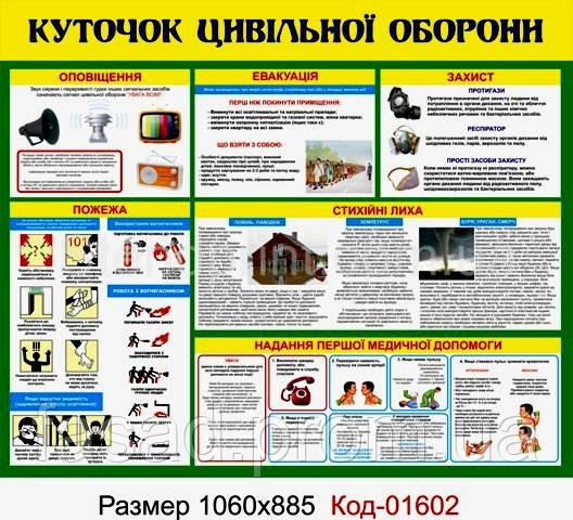 Стенд пластиковий куточок цивільного захисту Код-01602