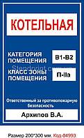 Табличка категории и зоны помещения Код-04993