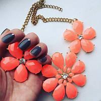 Колье модное женское Ромашки оранжевые, магазин бижутерии
