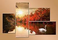 """Модульная картина """"Белый лебедь на пруду"""""""