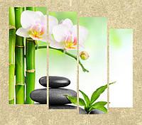 """Модульная картина """"Орхидея и камни"""""""
