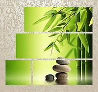 """Модульная картина """"Бамбук и камни"""""""