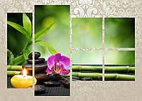 "Модульная картина ""Бамбук, камень, свечи"""