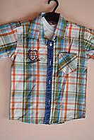 Модная рубашка+футболка в клетку детская на мальчика 8-9 лет.Турция!Детская летняя одежда.