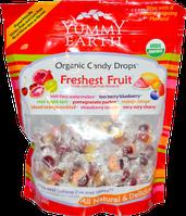 Леденцы-конфеты натуральные Свежайшие Фрукты, 85 штук, Yummy Earth, Organic Candy Drops, Freshest Fruit, 370г