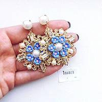 Серьги женские крупные D&G Spring голубые,бижутерия магазин