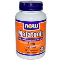 Мелатонин от бессонницы для улучшения сна, Now Foods , 3 мг, 180 капсул