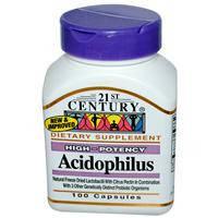 Ацидофилин (Ацидофилус) пробиотик 21st Century Health Care, 100 капсул