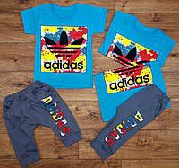 """Летний детский спортивный комплект """"Adidas"""" с бриджами, рост от 86 до 116 см"""