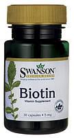 Биотин, 5000 мкг, 30 капсул, Biotin, Swanson Premium