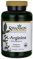 Аргинин для улучшения кровообращения, L-arginine, Swanson, 500 мг, 200 капсул