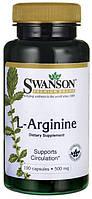 Аргинин для улучшения кровообращения,  L-arginine, Swanson Premium, 500 мг, 100 капсул