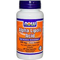 Альфа Липоевая Кислота, Now Foods, Alpha Lipoic Acid, 600 мг, 60 капсул