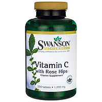 Витамин C с шиповником, 1000 мг 250 таблеток   Vitamin C with Rose Hips Swanson