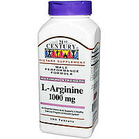 L-аргинин для поддержки сердца, 1000 мг, 21st Century Health Care, L-Arginine, 100 таблеток