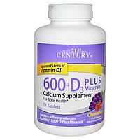 Жевательный кальций с витамином D3, 21st Century Health Care, 75 таблеток