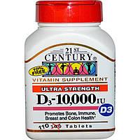 Витамин Д3, 21st Century Health Care, 10 000 МЕ, 110 таблеток