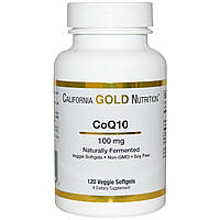 Коэнзим Q10, 100 мг, 120 капсул,California Gold Nutrition, CoQ10, Naturally Fermented