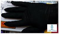 Нитриловые одноразовые не стерильные перчатки черные размер M, пара, фото 1