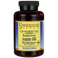 Аргинин АКГ (AKG) с окисью азота максимальной силы, Maximum Strength Arginine, 1000 мг 90 капсул, Swanson