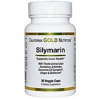 Силимарин (экстракт расторопши), 30 вегетарианских капсул,  Silymarin Milk Thistle Extract, California Gold Nu
