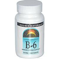 Витамин В6 Пиридоксин, 50 мг, 250 таблеток, Source Naturals