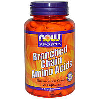 Разветвленные аминокислоты БЦАА, Branched Chain Amino Acids, Now Foods, 120 капсул