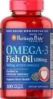 Омега-3 рыбий жир, Puritan's Pride, 1200 мг, 100 капсул,