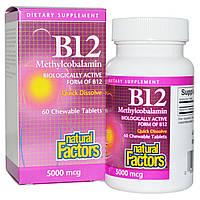 Метилкобаламин В12, Natural Factors, 5000 мкг, 60 таблеток