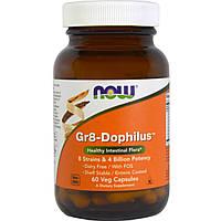 Пробиотики стабилизированные ацидофилус, Gr8-Dophilus, NOW Foods, 60 капсул,