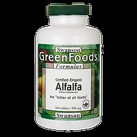 Люцерна органическая, Альфальфа, Alfalfa, Swanson, 500 мг, 360 таблеток