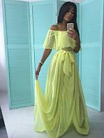 Шифоновое платье с поясом и открытыми плечами