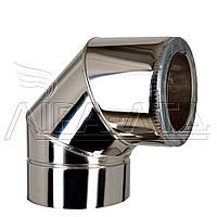 Колено термо (50мм) 90° Ф100/200 нерж/нерж Сталь усиленная AiSi304 0,8мм