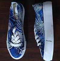 Летние кеды, кроссовки на платформе в тропичный принт New Look