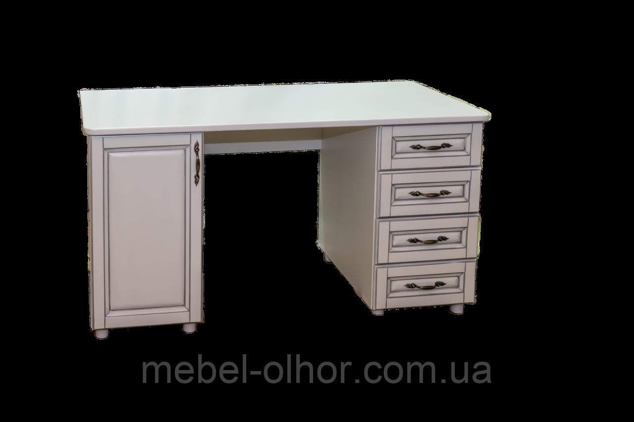 Письменный стол  из  дерева Верона (белый+пат.серебро)